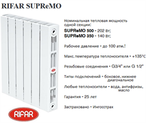 Радиатор биметаллический RIFAR SUPReMO 500-8секции